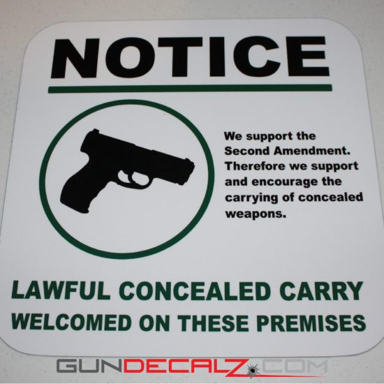 Lawful Concealed Carry Welcomed on These Premises.