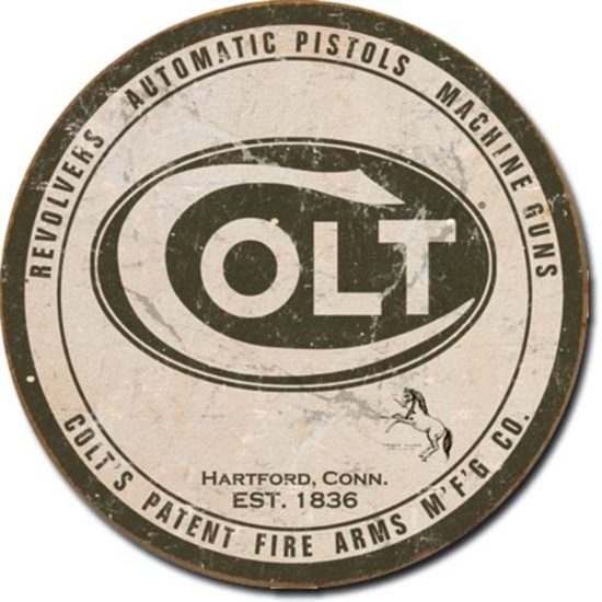 Colt revolvers automatic pistols machine guns tin sign