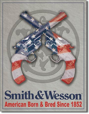 Smith & Wesson American Born & Bred Tin Sign