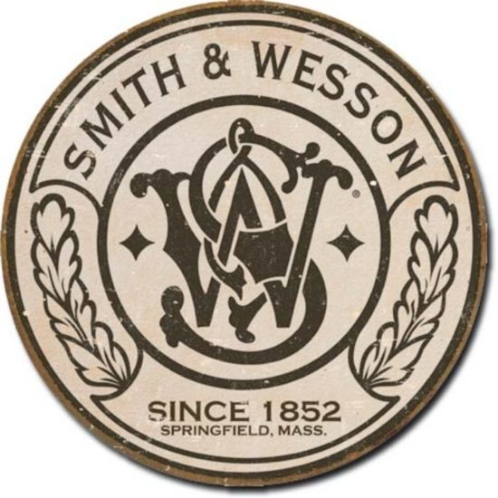 Smith & Wesson Since 1852 round tin sign