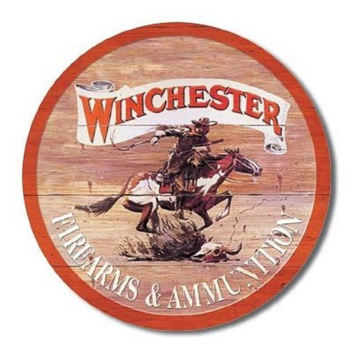 Winchester Firearms & Ammunition Round Tin Sign