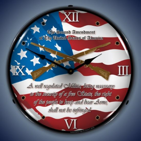 2nd Amendment Lighted Clock