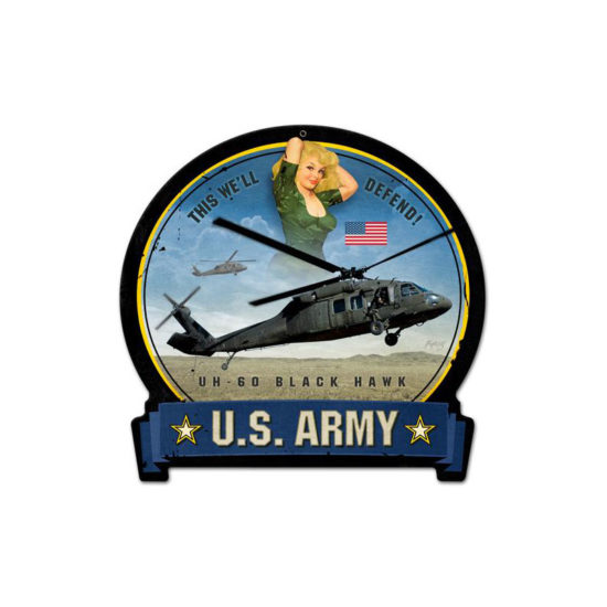 Army Blackhawk round banner metal sign