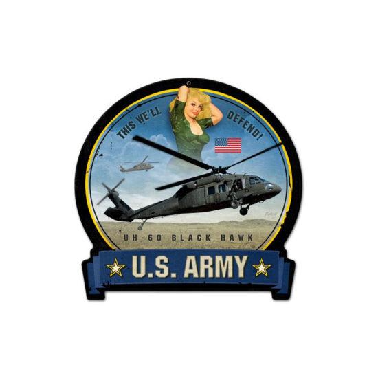 Army Blackhawk round banner metal sign