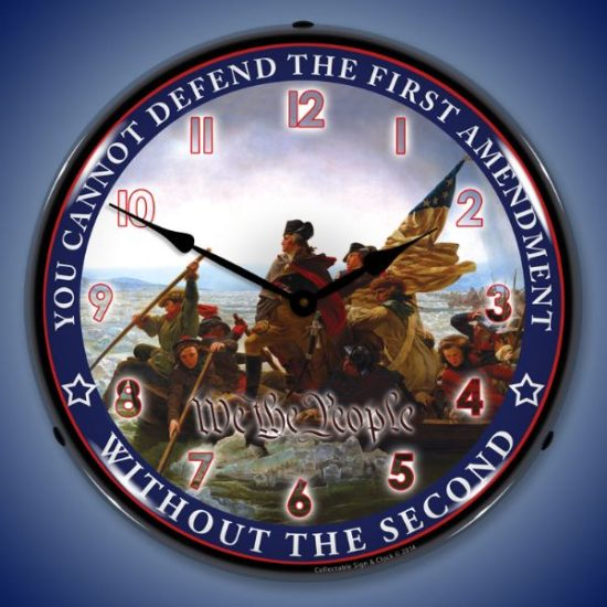 First and Second Amendment Lighted Clock