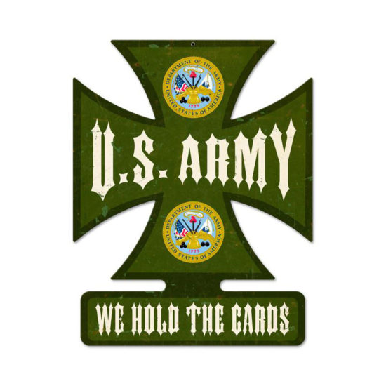 Army iron cross metal sign