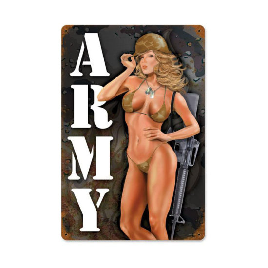 Army Pinup vintage metal sign