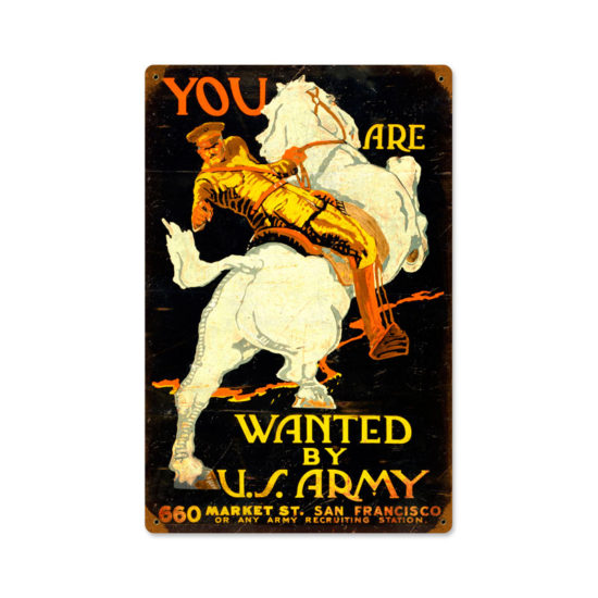 You Are Wanted by US Army vintage metal sign