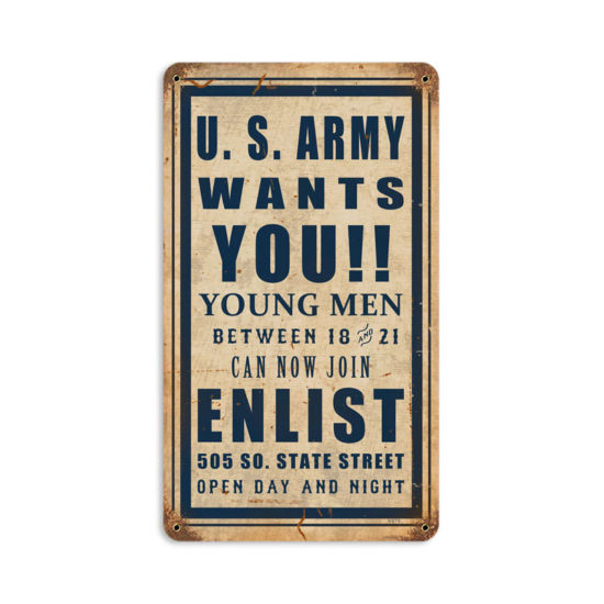 Army Wants You vintage metal sign
