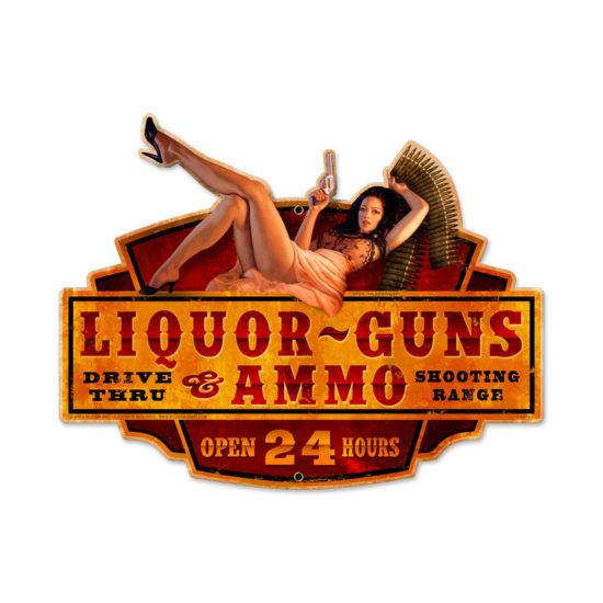 Liquor Guns Ammo Metal Sign