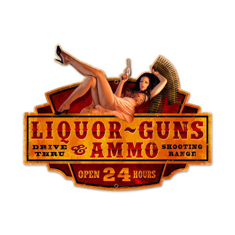 Liquor Guns Ammo Metal Sign
