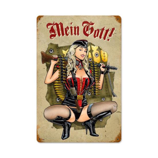 Gunner Girl vintage metal sign